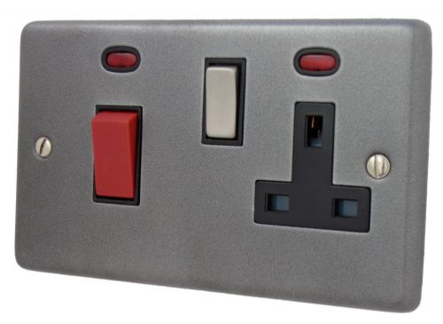 G&H CP329 Standard Plate Pewter 45 Amp DP Cooker Switch & 13A Switched Socket